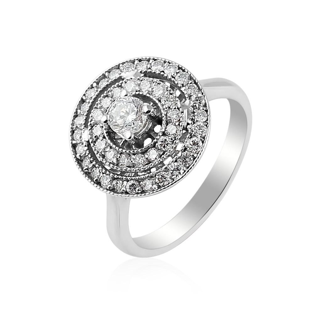 Damenring mit Diamanten aus 750 Weißgold – 0,24 + 0,46 ct